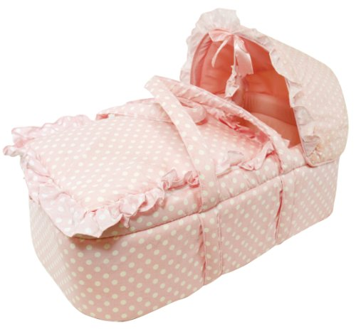 Stephan Baby Infant Girl Vintage Dot Moses Basket Set, Pink - 1