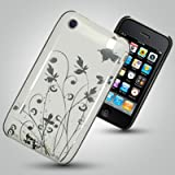 ZAFOORAH® - White and Silver Butterfly Flower Garden Design Hybrid Designer Hard IMD Case Cover Fits Apple iPhone 3 3G 3GS S 8GB 16GB 32GB 64GB including Free Screen Protector