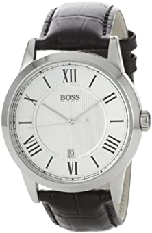 buy Hugo Boss Silver Dial Black Leather Mens Watch 1512439
