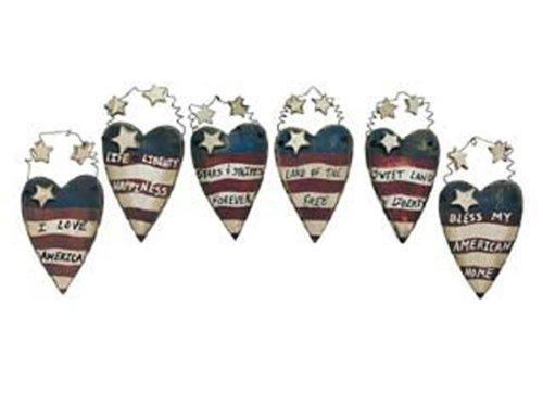 Ohio Wholesale Americana July 4th Miniature Heart Ornaments 6 Pc