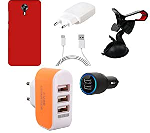 NIROSHA Cover Case Charger Mobile Holder car for Micromax Canvas Express 2 - Combo