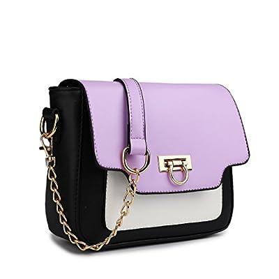 Miss Lulu Leather Style Horseshoe Clasp Cross Body Satchel Handbag (Purple) - satchels