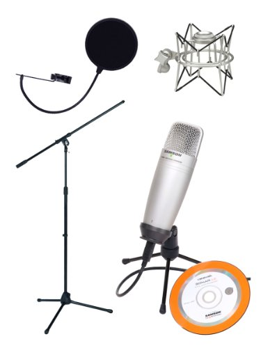 Samson C01U Usb Studio Condenser Microphone Bundle With Mic Stand, Pop Filter, Shock Mount, And Usb Cable