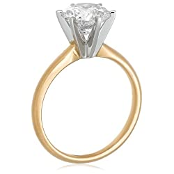 14k Choice of White or Yellow Gold Round Diamond Solitaire Engagement Ring
