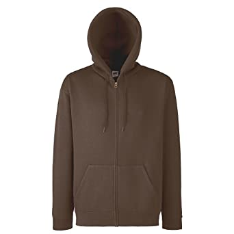Fruit of the Loom - Kapuzen Sweat-Jacke 'Hooded Zip' S,Chocolate