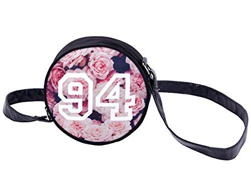 Borsa rotonda a tracolla con motivi divertenti. Borsetta con chiusura zip. Moderno lyfestyle trend zaino donne design, Tasche HT-01-36:HT-022 rosa