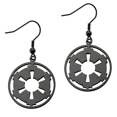 Star Wars Stainless Steel Imperial Dangle Earrings Machined Black