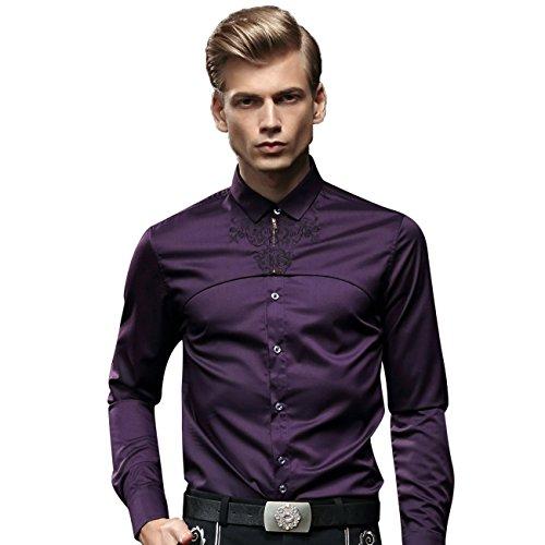 Fan zhuan camicie lilla camicia a maniche lunghe da uomo Slim Fit tempo libero Violett XXXX-Large