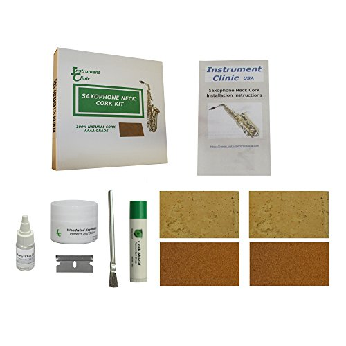 Instrument Clinic Saxophone Neck Cork Replacement Kit, Natural Cork (Band Instrument Repair Kit compare prices)
