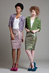 BL3112 Side Smock Brocade Pencil Skirt