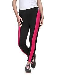 Aspasia Black & Dark Pink Printed Track Pant