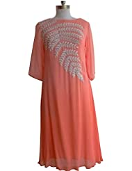 Pakiza Design New Arrival Peach Embroidered Georgette Festival Special Party Wear Kurti For Women(XL Size)