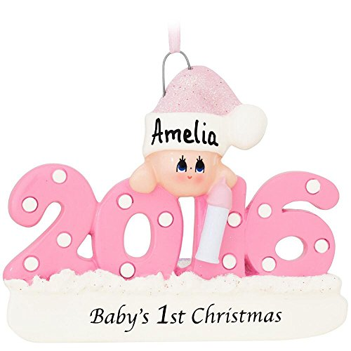 Baby's First Christmas Ornament 2016 - Pink/Girl - FREE Personalization