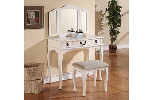 Poundex Bobkona Susana Tri Fold Mirror Vanity Table With Stool Set White F