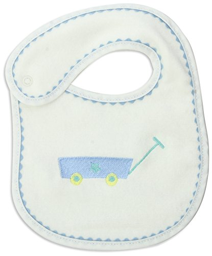 Raindrops Wagon Embroidered Bib, Blue