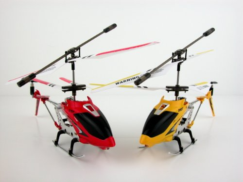S107G 3 Channel Mini Indoor Co-Axial Metal RC Helicopter w/ Built in Gyroscope (Red & Yellow) Set of 2