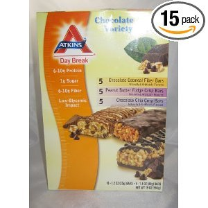 Atkins Day Break Chocolote Lover's Variety Pack Chocolate Oatmeal, Peanut Butter Fudge, Chocolate Chip Crisp 15 Bars 1.2 Each from Atkins