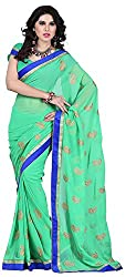 Shree Creation Women's Chiffon Saree with Blouse Piece (Green)