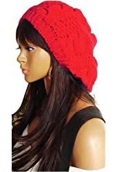 E-Tribe Fashion Winter Warm Knitted Women Lady Girls Slouch Crochet Beret Braided Baggy Beanie Hat Ski Snowboard outdoor Cap (Red)