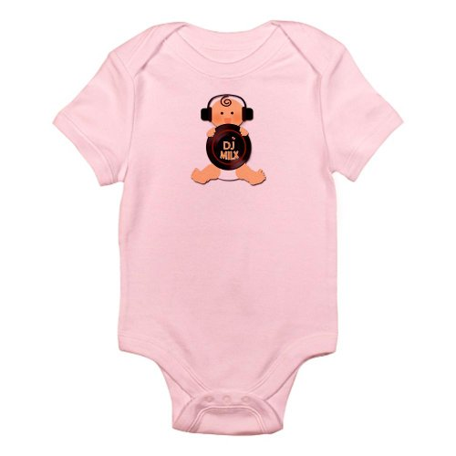 Cafepress Baby Dj With Headphones Infant Bodysuit - 12-18M Petal Pink