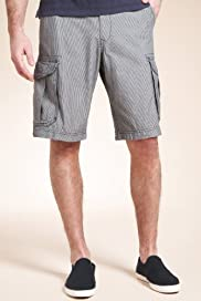 North Coast Pure Cotton Checked Cargo Shorts [T17-2235N-S]