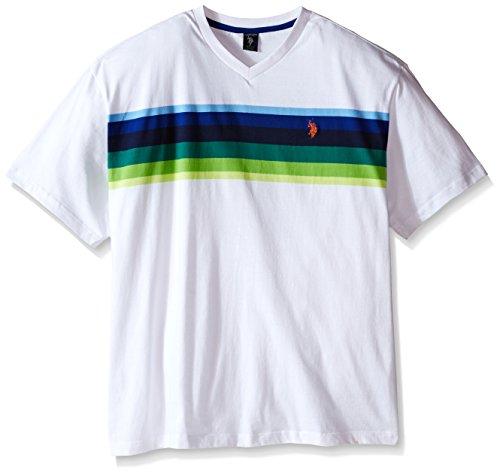 U s polo assn men 39 s big tall chest stripe v neck t shirt for Mens tall v neck t shirts