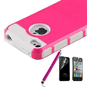 Pen+Rose Rugged Rubber Matte Hard Case Cover For iPhone 4G 4S w/ Screen Protect