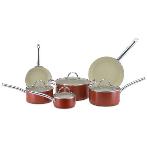 CeraStone CCJES77 Earth Series 10-Piece Ceramic Non Stick Cookware Set, Rust