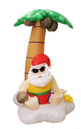 5.5' Airblown Inflatable Santa Claus And Palm Tree Tropical Lighted Christmas Yard Art Decor front-974859