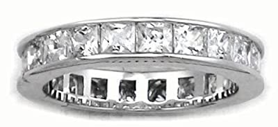 Princess Cut Eternity Ring - Full CZ Diamond Eternity Ring Style - Full Eternity White Gold Look Sterling Silver - Sizes J - T Available