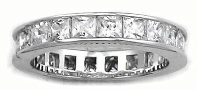 Princess Cut Eternity Ring - Full CZ Diamond Eternity Ring Style - Full Eternity White Gold Look Sterling Silver - Sizes J - T Available