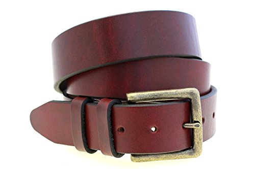 Mens 1 1/2 Burgundy Latigo Leather Belt Old Brass Buckle Made In USA Size 34