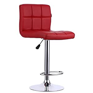 IKAYAA 2PCS PU Leather Swivel Bar Stools Chairs Height Adjustable