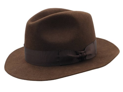 Sterkowski Rabbit Fur Felt Men'S Classic Vintage Fedora Hat Us 7 3/8 Brown