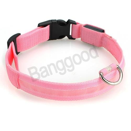 New Nylon Led Dog Pet Flashing Light Up Safety Collar Pink Medium Size M