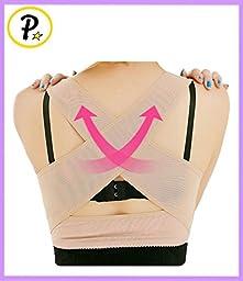 Presadee® Women\'s Hunchback Posture Shape Corrector Upper Shoulder With Push Up Bra Chest Support (L/XL, Beige)
