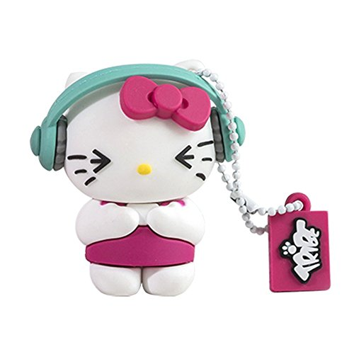 Tribe FD004411 Hello Kitty Pendrive 8 GB Simpatiche Chiavette USB Flash Drive 2.0 Memory Stick Archiviazione Dati, Portachiavi, DJ, Bianco