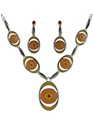 Anuradha Art Fancy Orange Necklace Set For Women