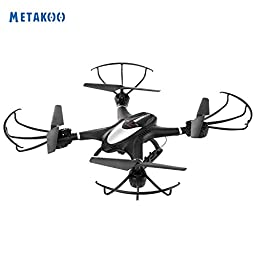 Metakoo X401 FPV RC Quadcopter with Wifi Camera Altitude Hold One-Key Return Headless Mode 2.4GHz 4 Channel 6 Axis Gyro RTF Left and Right Hand Mode Drone-Black