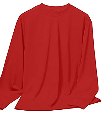 Tri-Mountain Men's Tall Crewneck Long Sleeve Shirt_RED_Small