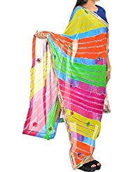 Famacart Ethnic Wear Women's Leheriya Dupatta Wrap Scarf Lace Work