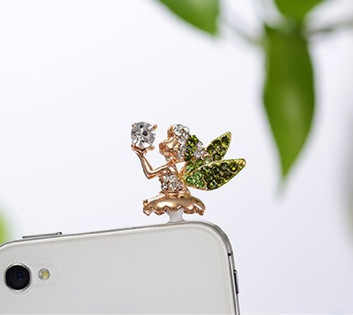 Big Mango Cute Crystal Angel Anti Dust Plug Stopper / Ear Cap / Cell Phone Charms For Apple Iphone 5 5S,Iphone 4 4S ,Ipad Mini Ipad 2 ,Ipod Touch 5 4,Samsung Galaxy S3 S4 Note3 Note 2,Htc And Other 3.5Mm Earphone Jack Phones ( Green )