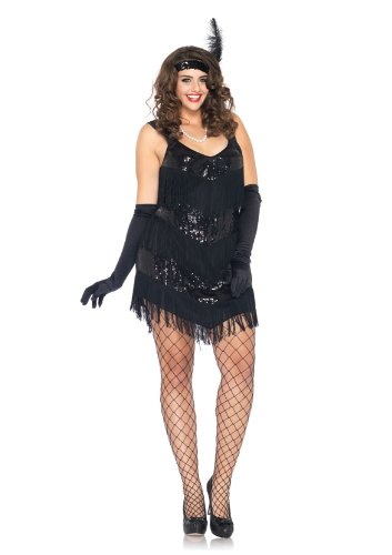 Leg Avenue Women's 2 Piece Roaring 20's Honey Fringe Dress with Headband