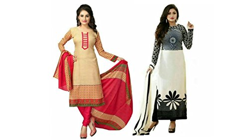 99331a7c7b Shiroya Brothers Women's Printed Unstitched Regular Wear Salwar Suit Dress  Material (Combo pack of 2