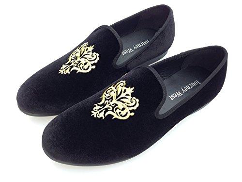 Vintage da uomo in velluto ricamato scarpe Noble passante-Smoking-Pantofole a mocassino, colore: nero/rosso/blu, Nero (nero), 44