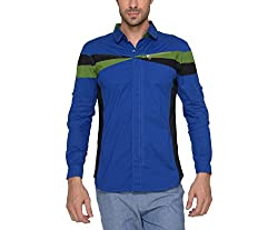 Copperstone Men's Casual Shirt (8903944552296_Dark Blue_Large)