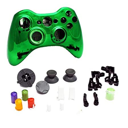 Xbox 360 - Repair Part Controller Housing Shell FULL SET Chrome Metallic Green