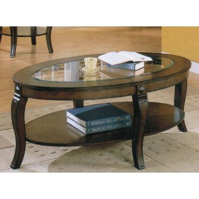 Coffee Table with Glass Top and Shelf in Walnut Finish