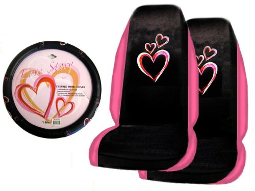 A Set of 2 Universal Fit Optic Art Multicolor Hearts Seat Covers and 1 Comfort Grip Steering Wheel Cover (Purple Fairy Seat Covers compare prices)