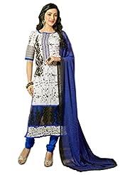 Surat Tex White Color Embroidered Chanderi Cotton Un-Stitched Dress Material